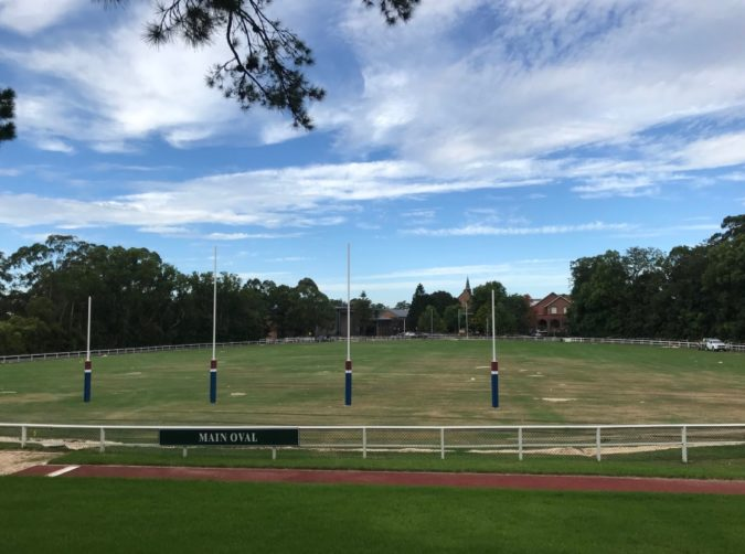 AFL posts go up on Pymble Ladies College main oval