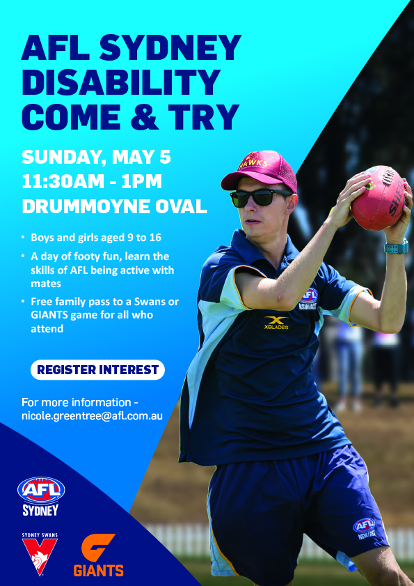 AFL Sydney Disability 'Come and Try' event coming soon